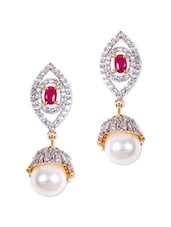 American Diamond And Pink Stone Earrings - Rajwada Arts