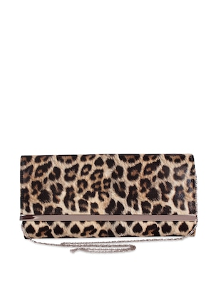 Brown animal skin patterned sling bag