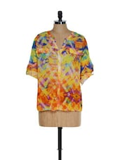 Multi-coloured Roll-up Sleeved Digital Printed Top - Toscee