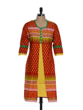 Stunning Red And Yellow Jacket Style Kurta - ETHNIC