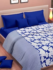 Blue And White Floral Print Dohar - Cortina