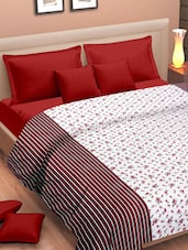 White Base Cotton Dohar With Red And Black Floral Prints - Cortina