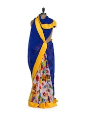 Floral Touch Chiffon Saree With Velvet Border - Get Style At Home