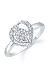 Studded Heart Cut Silver Ring - VK Jewels