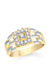 Diamante Gold And Silver Ring - VK Jewels