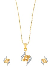 Amazing Gold And Rhodium Plated Pendant Set With Earrings - VK Jewels