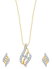 Fashionable Gold And Rhodium Plated Pendant Set With Earring - VK Jewels