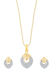 Blossom Cherry Gold And Rhodium Plated Pendant Set With Earrings - VK Jewels
