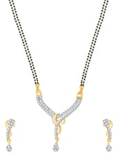 Gold And Rhodium Plated Mangalsutra  Pendant Set With Earrings - VK Jewels