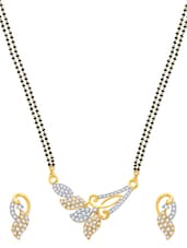 Amazing Gold And Rhodium Plated Mangalsutra  Pendant Set With Earrings - VK Jewels