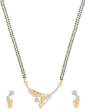 Leafy Star Gold And Rhodium Plated Mangalsutra  Pendant Set With Earrings - VK Jewels