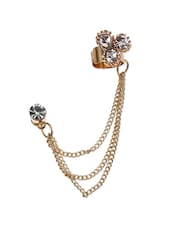 Party Style Golden Tassels With White Crystal Flower Ear Cuff - Fayon