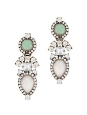 Green And White Stone With Crystals Studded Designer Earrings - Oomph