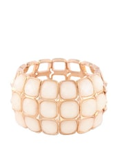 White Stone Studded Block Bracelet - Oomph