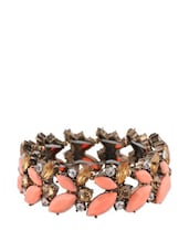 Pink Stone And Crystal Studded Floral Pattern Bracelet - Oomph