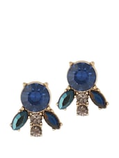Midnight Blue Stone Embellished Earrings - Fabula