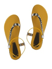 Yellow and Silver Braided Strap Sandals