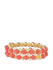 Gold Plated Bangles With Synthetic Pearls And Pink Acrylic Flowers - Nisa Pearls