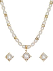 Elegant Gold Plated Necklace And Earrings With American Diamonds And Pearls - Nisa Pearls