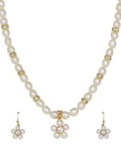 Delicate White Flower Shaped Pearl Necklace And Earrings With American Diamonds - Nisa Pearls