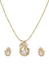 Delicate Gold Plated Pearl Necklace And Earrings With American Diamonds - Nisa Pearls