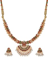 Braided Resham And Gold Plated Necklace And Earrings With American Diamonds, Semi Precious Stones And Seed Pearls - Nisa Pearls