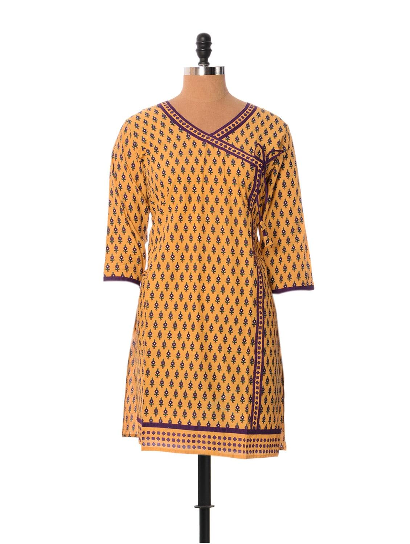 Yellow And Purple Printed Kurti - Little India