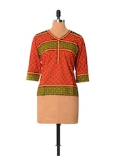 Ethnic Red Printed Cotton Top - Little India