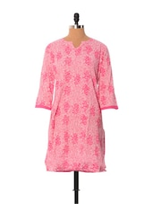 Pink Printed Cotton Kurti - Little India