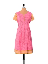 Pink And White Printed Kurti - Little India