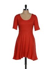 Ravishing Red Flared Dress With Mid-sleeves - Femella