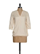 Apricot Elegant V-neck Top With A Lace Yoke - Femella