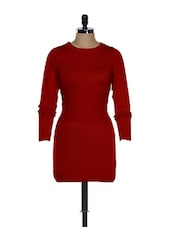 Red Sweater Dress With Detailed Waist - Femella