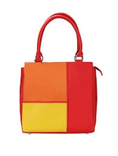 Eye Catching Colour Blocked Leather Tote - Borsavela
