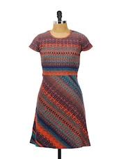 Blue And Orange Printed Half-sleeved Printed Dress - AKYRA