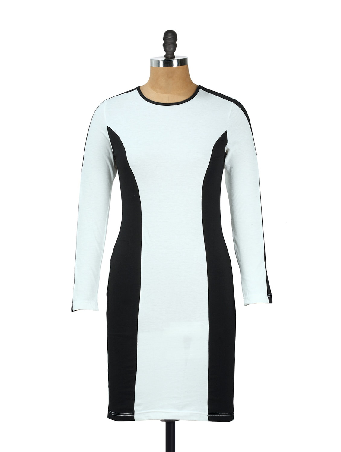 White Cotton Knit Full-sleeved Dress With Black Side Stripes - AKYRA