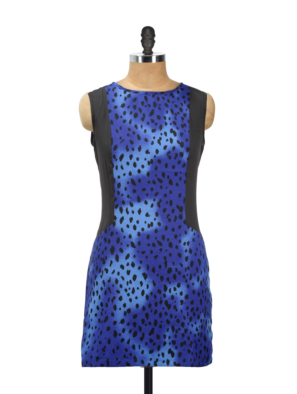 Blue Printed Dress With Black Sides - AKYRA