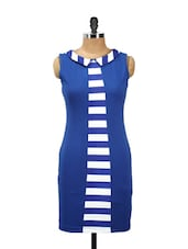 Blue Cut-sleeved Bodycon With Stripes In The Central - AKYRA