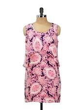 Pink And Blue Printed Tier Dress - AKYRA
