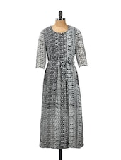 Black And White Three-quarter Sleeved Dress With A Fabric Waist Belt - AKYRA