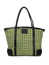 Stylish Leaf Green And Black Printed Tote Bag - Moac