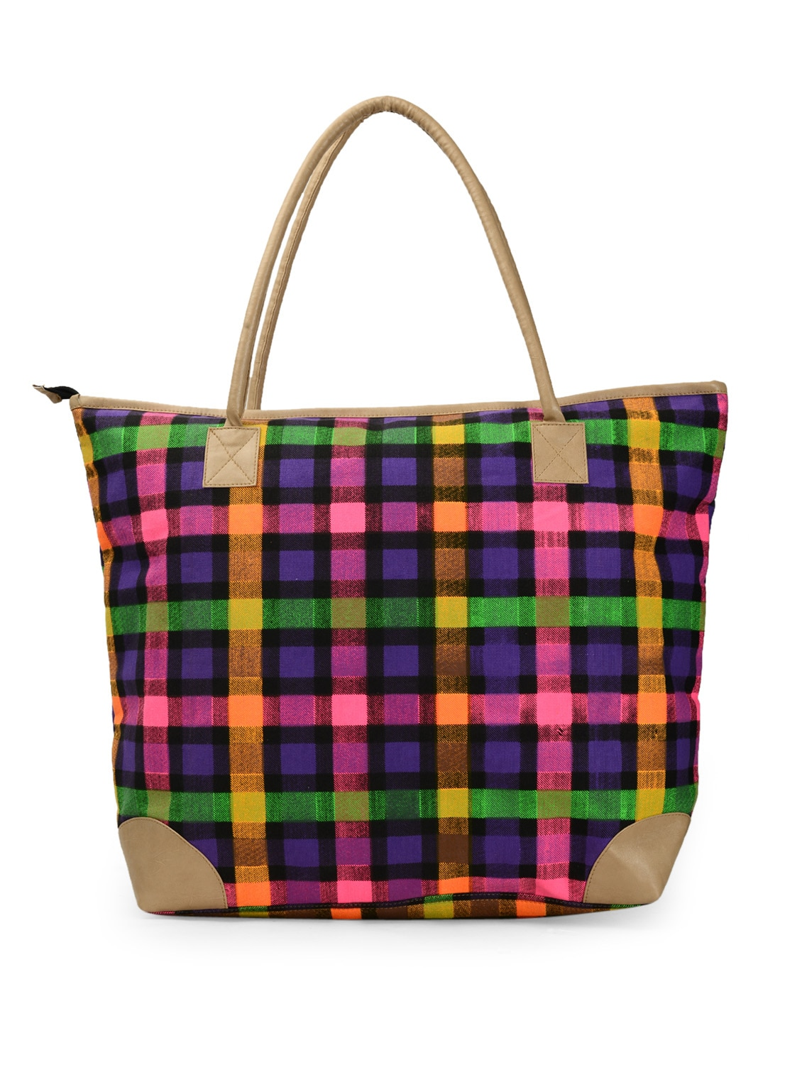 Multi-coloured Checkered Prints Tote Bag - Moac