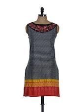 Black Kurti With Embroidered Neckline - Eavan
