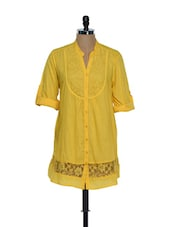 Yellow Roll-up Sleeved Long Top - Being Fab
