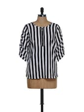 Trendy Black And White Striped Chiffon Top - Being Fab