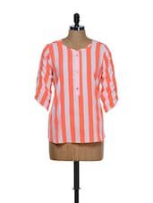 Trendy Orange And White Striped Chiffon Top - Being Fab