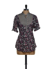 Multi-coloured Floral Print Long Top With A Grey Yoke And A Belt At The Back - Being Fab