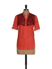 Orange Roll-up Sleeved Cotton Top With A Lace Yoke - Being Fab