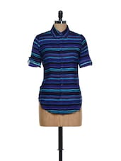 Blue Hued Striped Collar Neck Cotton Shirt - Being Fab