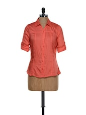 Basic Coral Roll-up Sleeved Cotton Shirt - Being Fab